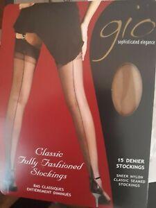 Gio Fully Fashioned point heel natural sheer nylon stockings 10.5