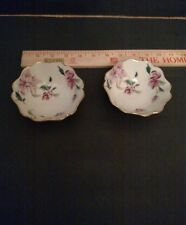 """Lenox BARRINGTON Collection Pink Floral Jewelry Dish 4"""" / lot of 2"""