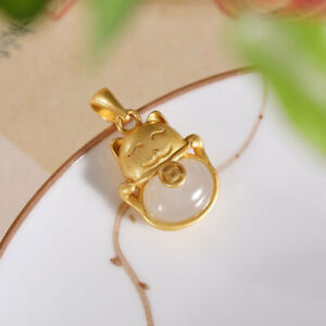 Chinese Pure Silver S925 Gild Inlay Hetian White Jade Fortune Cat Pendant