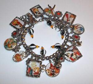 Retro Vintage Halloween Theme Charm Bracelet Hand Crafted