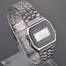 Retro Mens Vintage Silver Classic Style Ladies Digital Metal LCD Watch Orologiob