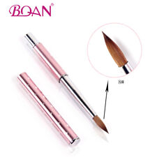 1PC Acrylic Nail Brush 8# Nail Art Tool Kolinsky Sable Hair Pink Metal Handle