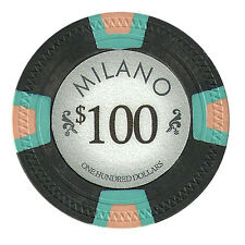 100 Black $100 Milano 10g Clay Casino Poker Chips New - Buy 4, Get 1 Free