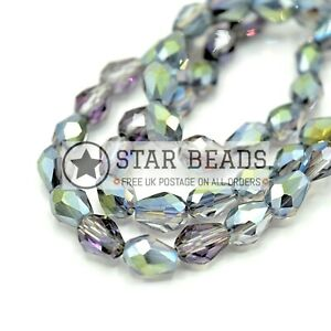 Peridot AB 60 x Faceted Teardrop Glass Beads For Jewellery Making 8x11mm