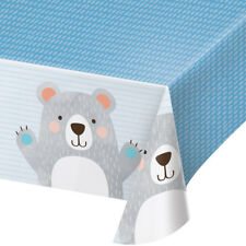 Teddy Bear Blue Plastic Party Tablecover Baby Boys Birthday Party Tablecloth