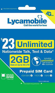 Lycamobile Prepaid Sim card with $23 Unlimited Plan for 1 Month Preloaded