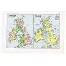 BRITAIN River Basins & Tidal Flow British Isles- Antique Map 1904 by Bartholomew