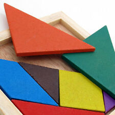 Funny Wooden 7pcs Tangram Puzzle IQ Game Brain Teasers Learning Toy~