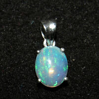Pendant Welo Opal Pear Wollo Ethiopia Handmade Sterling Silver Unisex Design 277