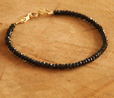 2x4mm 14K Natural black spinel Bracelet yoga Mala meditation Buddhism women
