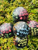 HAPPY BIRTHDAY PRINTED BLACK LATEX BALLOONS ADULTS KIDS HELIUM DECORATION ALL