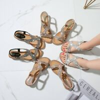 Bohemia Summer Women Ladies Bling Flower Crystal Flat Sandals Beach Casual Shoes