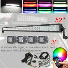 """5D RGB 52inch 300W Offroad Led Work Light Bar + 4x 3"""" RGB Pods Kit Bluetooth APP"""