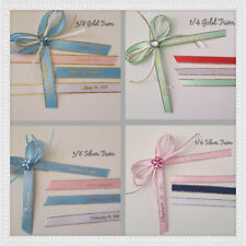 "100 Personalized Ribbons 1/4"" or 3/8""gold or silver edge/satin ribbon"
