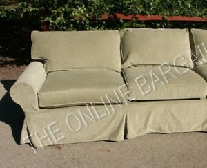 Pottery Barn pb Basic Sofa Sectional slipcover LEFT ARM LOVESEAT SAGE CHENILLE