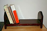 "Small Handmade BOOK SHELF TROUGH 1950s? 1960s? VINTAGE Retro Solid Wood 16"" long"