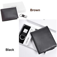 Calvin Klein Wallet Black Smooth Leather Bifold with Key FOB RFID Gift Set NEW