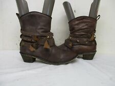 STEVE MADDEN TEXIC Distressed Brown Leather Buckle Strap Ankle Boots Size 6.5 M