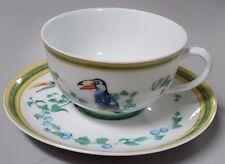 HERMES Porcelaine Limoges china TOUCANS pattern Cup & Saucer