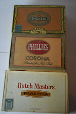 New listing Lot of Three Vintage Cigar Boxes, Phillies, Emanelo & Dutch Masters.