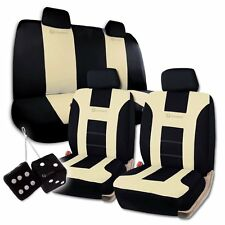 Zone Tech Universal Fit Beige/Black Racing Style Car Seat Covers and Dice Set
