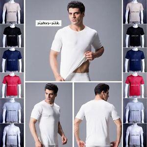 Herren 100% Seide Rundhals T-Shirts Kurzarm Nachthemden Sisters-Silk