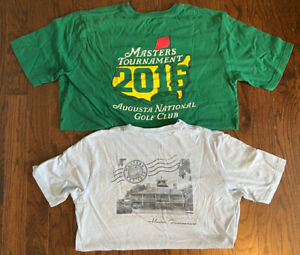 Lot Of 2 Masters Golf Green 2016 Tournament Augusta T Shirts Sz L