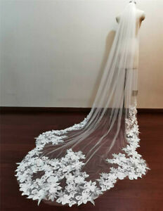 Real Photos Dramatic Scallop edge Long Wedding Bridal Veils Tulle Lace with Comb
