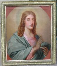 Huge impressive 19th century oil. Portrait of Christ Blessing. 1820