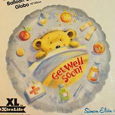 "Get Well Soon Bear Foil Balloon 18"" Round Blue Decoration"