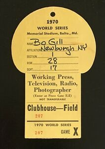 1970 World Series Media Press Pass Clubhouse ticket stub Baltimore Orioles Reds
