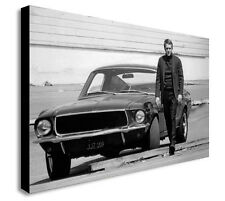 STEVE McQUEEN BULLITT MOVIE FORD MUSTANG Canvas Framed Wall Art  - Various sizes