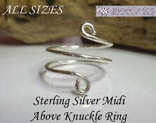 Sterling Silver' 925 Regolabile MIDI Anello sopra su nocche