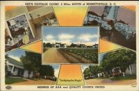Bennettsville SC Pat's Cottage Court Multi-View Linen Postcard #1