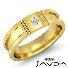 Princess Solitaire Diamond 6mm Ring Men Half Wedding Band 18k Yellow Gold 0.10Ct