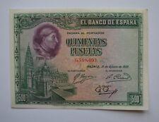 More details for 1928 spain banco de españa 500 pesetas banknote ab uncirculated