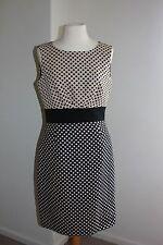 Tahari ASL Sleeveless Reverse Dot Jacquard Sheath Women Dress Sz 4 Khaki Black