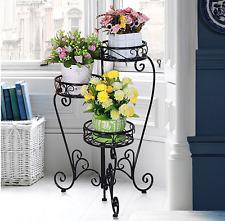 Outdoor Indoor Pot Plant Stand Garden Metal 3 Tier Planter Shelves Black Design