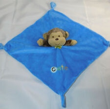 Small Wonders Monkey Rattle Blue Lovey Security Blanket CUTE Knotted Corners