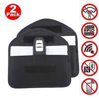 2X Car Key Faraday Bag Keyless Entry Fob Signal Guard Blocker Case Black - LARGE