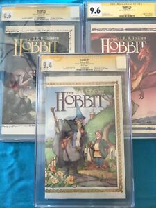 The Hobbit #1-3 set - Eclipse - CGC SS 9.4 9.6 9.6 - all Signed by David Wenzel