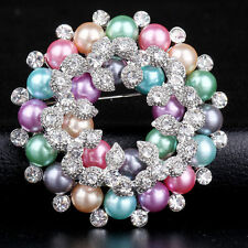 Flower Wedding Party Costume Accessories Women Brooches Colorful Pearl Crystal