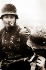 German Soldier Lighting Cigarette with a flamethrower 4x6 WWII WW2 Photo 105