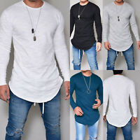 Fashion Men Casual Long Sleeve Slim Fit Shirts Longline Shirt Top Blouse T-Shirt