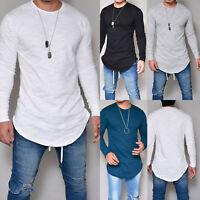 Mens Casual Long Sleeve Slim Fit Shirts Longline Tee Shirt Top Blouse T-Shirts