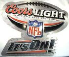 """Vintage Coors Light NFL IT'S ON! Metal Tin Beer Sign 36"""" Silver Bullet Football"""