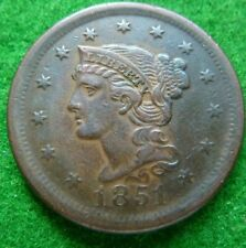 More details for 1851 usa large 1 cent - vf+ - nice tones