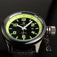 Mens Watch Quartz Black Leather Strap Fluorescent Green Analog Display Casual