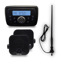 12V Marine  FM/AM Boat Bluetooth Radio stereo+4inch Boat speakers+fm/am antenna
