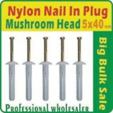 1000 X Nylon Nail in Plug 5 X 40mm Mushroom Head Anchor Knock Ins